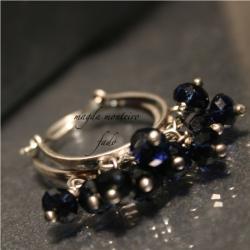 srebro,niebieskie,kolczyki,granatowe,indygo,osydow - Kolczyki - Biżuteria