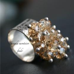 srebro,kryształ,Swarovski,pierścionek,oksydowany - Pierścionki - Biżuteria