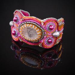 haft koralikowy,bransoletka kolorowa,amarant - Bransoletki - Biżuteria