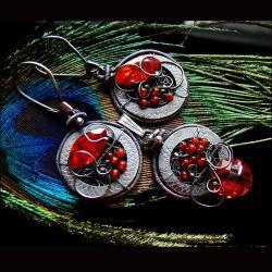 topaz,karneol,srebro,okrągłe,komplet - Komplety - Biżuteria
