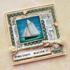 Kartki okolicznościowe kartka,żaglówka,węzeł,marynarski