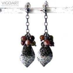 srebrne,jesienne,z turmalinami - Kolczyki - Biżuteria