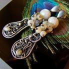 Kolczyki kolczyki,labradoryt,srebro,wire - wrapping,sztyfty