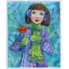 Ilustracje, rysunki, fotografia ilustracja,dziewczyna,zima,serce