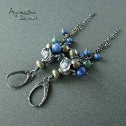 długie kolczyki,baśniowe,oksydowane srebro,kwiaty - Kolczyki - Biżuteria