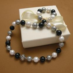 perły,naszyjnik,elegancki,zielony,szary,seashell - Naszyjniki - Biżuteria
