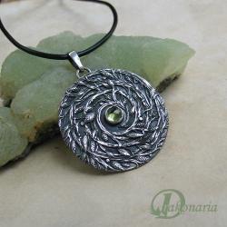 spirala,symbol,liście,natura,kora,zielony - Wisiory - Biżuteria