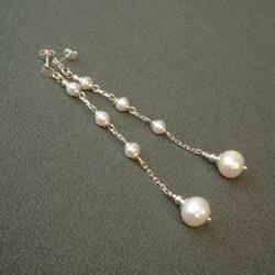 długie kolczyki,perełki,skromne,eleganckie,kobiece - Kolczyki - Biżuteria