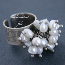 srebro,perły,perłowy,pierścionek,oksydowany - Pierścionki - Biżuteria