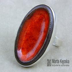 ceramiczny pierścionek,srebrny pierścionek - Pierścionki - Biżuteria