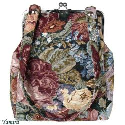 gobelin,bigiel,kwiaty,retro,torebka,elegancka - Na ramię - Torebki