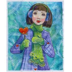 ilustracja,dziewczyna,zima,serce - Ilustracje, rysunki, fotografia - Wyposażenie wnętrz