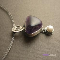 ametyst,elegancki,perła - Wisiory - Biżuteria