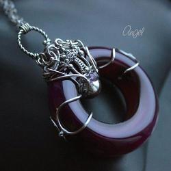 ametyst,fioletowy,koło,naszyjnik,misterny - Naszyjniki - Biżuteria