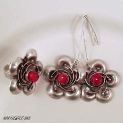 5a2e0dcceacd 3 czerwone czubki (komplet). czerwony koral w srebrze - Komplety - Biżuteria