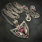 Naszyjniki rubin,malinowy,ekskluzywny,wire-wrapping
