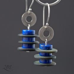 srebro,lapis lazuli,muszla,kolczyki - Kolczyki - Biżuteria