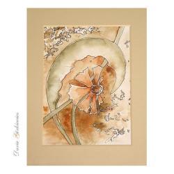romantyczna,kwiat,akwarela,malarstwo,unikat, - Ilustracje, rysunki, fotografia - Wyposażenie wnętrz