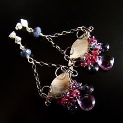 szafir,ametyst,granat,wiszące,wire - wrapping - Kolczyki - Biżuteria