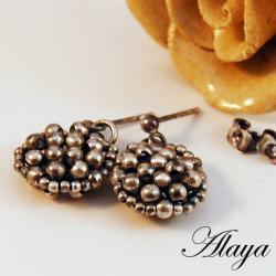 kolczyki,srebro,plecione,beading - Kolczyki - Biżuteria