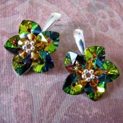 Evening Flower - plecione kolczyki Swarovski - Kolczyki - Biżuteria