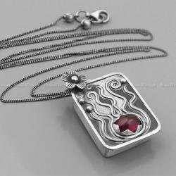 rubin,rubinowy,sekretnik,długi,srebro,mroczek - Naszyjniki - Biżuteria