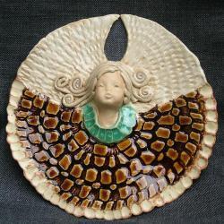 aniołek,bursztynowy ceramika - Ceramika i szkło - Wyposażenie wnętrz