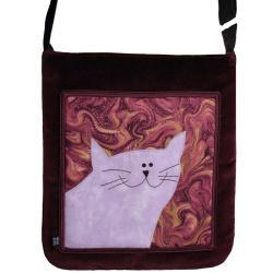 torba,a4,kot,fioletowy,aksamit,pojemna - Na ramię - Torebki