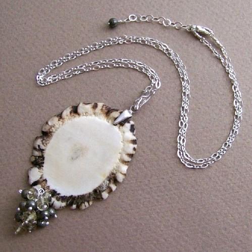 826d6f46dd5931 poroże jelenia,piryt,kwarc,srebro,naszyjnik - Naszyjniki - Biżuteria ...