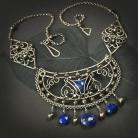 Naszyjniki lapis lazuli,naszyjnik,piryt,etniczny,srebrne