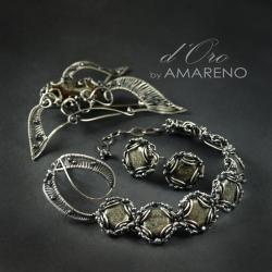 ekskluzywny,komplet,kobiecy,złoty,piryt - Komplety - Biżuteria