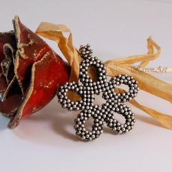 srebro,plecione,wisior kwiat,unikatowy - Wisiory - Biżuteria