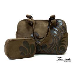 torba,na ramię,z ekozamszu,aplikacja,ekoskóra - Komplety - Torebki