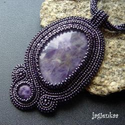 haft koralikowy,elegancki,unikalny,asymetryczny - Wisiory - Biżuteria