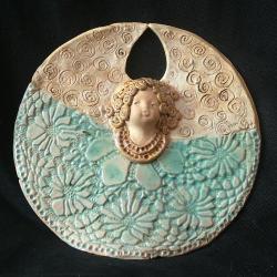 aniołek,turkus,ceramika - Ceramika i szkło - Wyposażenie wnętrz