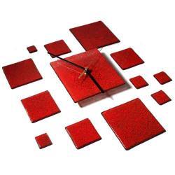 zegar,czerwony designerski,szklany,oryginalny - Zegary - Wyposażenie wnętrz