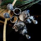 Kolczyki srebro,labradoryt,szare,wire-wrapping,sztyfty