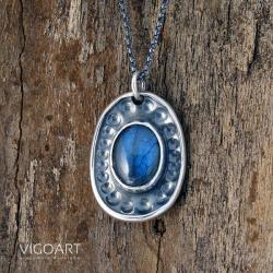 srebrny,z labradorytem,rękodzieło - Wisiory - Biżuteria