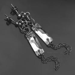 srebrne kolczyki,kryształ swarovski,oksydowane - Kolczyki - Biżuteria
