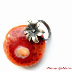 pierscionek,srebro,kwiatuszek,oksydowany - Pierścionki - Biżuteria