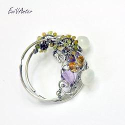 srebro,wire-wrapping,barwne,kolczyki,koła - Kolczyki - Biżuteria