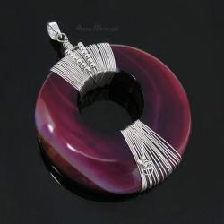 duży wisior,agat,fuksjay,malinowy,okrągły,srebro - Wisiory - Biżuteria