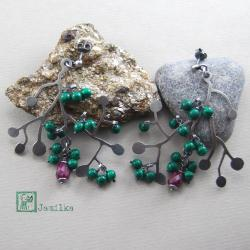 gałązki,jesień,malachit,rubin,srebro - Kolczyki - Biżuteria