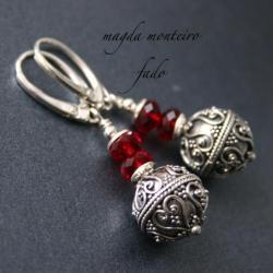srebro,kolczyki,bali,czerwone,Swarovski,oksydowane - Kolczyki - Biżuteria