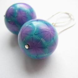 kolorowe,fiann,fimo,niepotarzalane,wzór - Kolczyki - Biżuteria