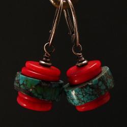 kolczyki,kolorowe,turkus,koral,oksydowane - Kolczyki - Biżuteria