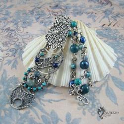 bransoleta,w błękitach,art clay,wire-wrapping - Bransoletki - Biżuteria