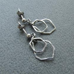 minimalistyczne,srebnre,młotkowane,krótkie,lekkie - Kolczyki - Biżuteria