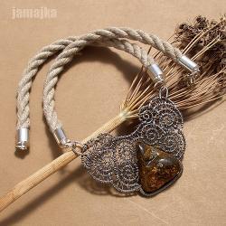pleciony,len,sznurek,naszyjnik,bursztyn - Naszyjniki - Biżuteria