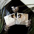 Kolczyki sztyfty,metaloplastyka,wire-wrapping,szare,